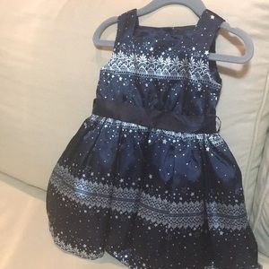 Monsoon baby party dress-navy/white. 6-12 mo